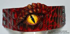 Smaug Dragon Eye Handmade Leather Cuff bracelet
