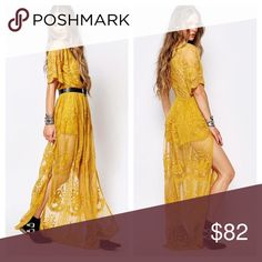 "*LAST1* Chloe Yellow Lace Maxi Dress Available in Sizes S,M,L  New with tags  Honey punch boho maxi dress with plunge neckline in romantic lace. (Sold out at ASOS)  ✔️Bundle discount: 10% off 2+ items.  ❌No trades  🛍Use the ""Buy Now"" or ""Add to Bundle"" feature to select your size & purchase. Honey Punch Dresses Maxi"