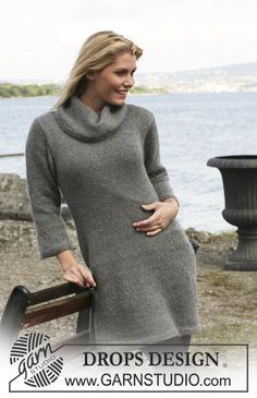 """DROPS dress in """"Alpaca"""" and """"Kid-Silk"""". Size: S - XXXL. ~ DROPS Design"""