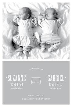 Faire part de naissance Jumeaux 8 photos photographie