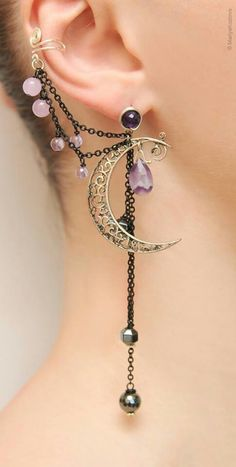 Silver Purple Lilac Night Ear Cuff with Fairy Amethyst Stars and Scroll Moon/ curl open work Moon/ ohr fake faux piercing/ ohrklemme ohrclip – jewelry