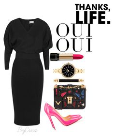 """""""Untitled #513"""" by crisa-gloria-eduardo on Polyvore featuring Victoria Beckham, Valentino, Christian Louboutin, Style & Co., Oui and Lancôme"""