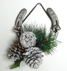 Decorated Holiday Horseshoe with Pinecones by DreamersGifts, $20.00