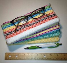 Handwoven, lined pencil/eyeglass cases.