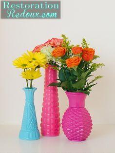 Spray Painted Vases http://www.restorationredoux.com/?p=5305