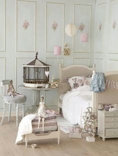 Shabby chic bedroom - Gloria's room- wainscoting w/medallions