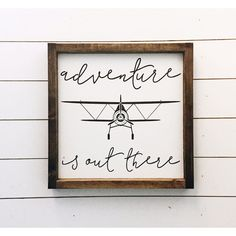 Ready to Ship Adventure Is Out There Aviation Sign Vintage Airplane... ($40) ❤ liked on Polyvore featuring home, home decor, wall art, home & living, home décor, silver, wall décor, painted signs, handmade signs and painted wall art
