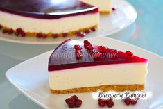 Cheesecake cu rodie Cheesecake, Desserts, Recipes, Food, Gelatin, Tailgate Desserts, Postres, Cheesecakes, Deserts