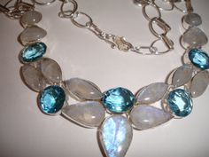 Moonstone and Aqua Crystal Quartz Bubble  Statement Necklace