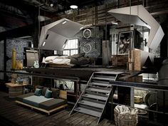 Magnificent Industrial Bedroom Design Ideas For Unique Bedroom Style - Wohnen - Loft Style Bedroom, Industrial Bedroom Design, Master Bedroom Design, Industrial House, Industrial Interiors, Bedroom Styles, Industrial Bedroom Furniture, Modern Furniture, Industrial Stairs