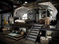 Magnificent Industrial Bedroom Design Ideas For Unique Bedroom Style - Wohnen - Loft Style Bedroom, Industrial Bedroom Design, Vintage Industrial Decor, Master Bedroom Design, Industrial House, Industrial Interiors, Bedroom Styles, Bedroom Designs, Bedroom Ideas