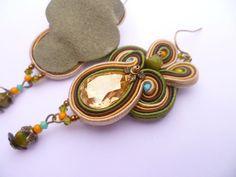 Soutache Earrings Soutache Ebroidery earrings by ZoojaDesign, $90.00 Soutache Earrings, Drop Earrings, Shibori, Belly Button Rings, Crochet, Creative, Crafts, Etsy, Jewellery