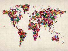 Wallpaper Butterflies Art Map of the World. $650.00, via Etsy.