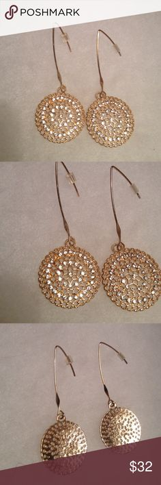 Gold Pave Disc Earrings NWOT Stunning Gold Pave Disc Earrings , Bought To Wear To  An Event And Didn 't End Up Wearing !!! Boutique Jewelry Earrings