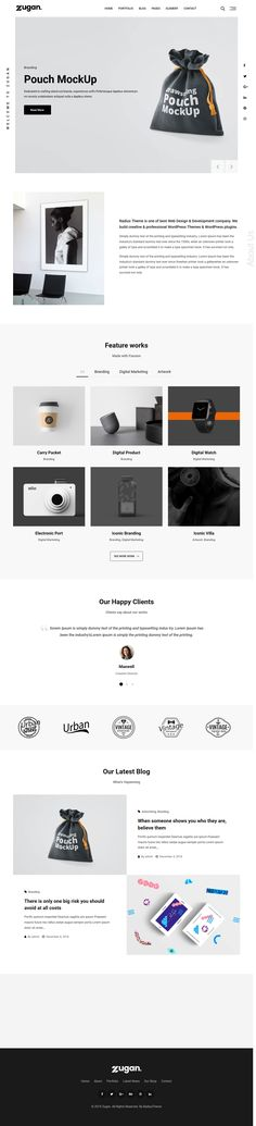 Zugan - minimal portfolio WordPress theme is responsive mobile friendly WordPress portfolio theme with 12 different home pages with Elementor Page Builder. Professional Wordpress Themes, Wordpress Plugins, Minimalism, Artist, Things To Sell, Design, Products, Artists