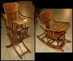 1 Antique Oak Combo Baby Highchair Stroller Childs Chair