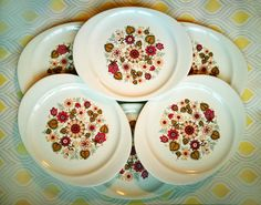 Mid Century Modern J & G Meakin plates, set of 6