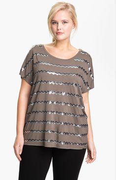 Brown and Silver Sequin Tee by Kische