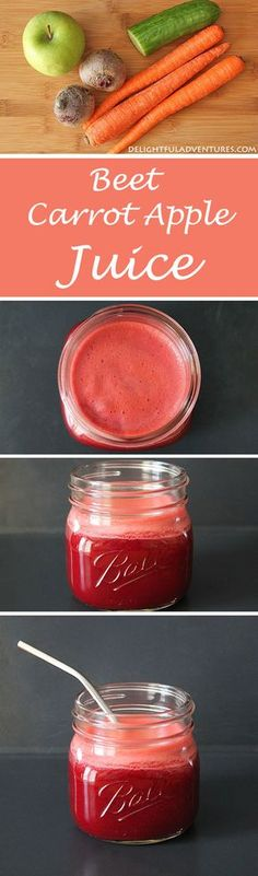 Beet Carrot Apple Juice Have you hit an afternoon slump? You'll be energized to keep going after making yourself a glass of this refreshing beet carrot apple juice. Healthy Juice Recipes, Juicer Recipes, Healthy Detox, Healthy Juices, Healthy Smoothies, Detox Juices, Cleanse Recipes, Simple Smoothies, Fruit Smoothies