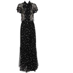 DOLCE & GABBANA Star printed silk chiffon gown (138.690 RUB) ❤ liked on Polyvore featuring dresses, gowns, long dresses, black, short black dresses, see through dress, black sheer dress, short black evening dresses and short evening dresses
