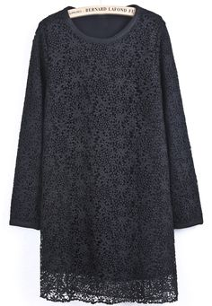 Black Long Sleeve Embroidered Lace Straight Dress US$37.38