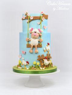 Little Sheep Cake by CakeHeaven by Aid Adha, Rodjendanske Torte, Sheep Cake, Farm Cake, Animal Cakes, Novelty Cakes, Gorgeous Cakes, Girl Cakes, Fondant Cakes