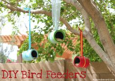 DIY Bird Feeders. Made out of quart paint cans (you can buy empty ones at any hardware/craft store).