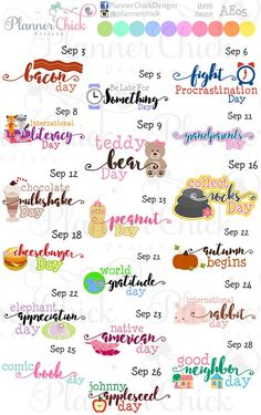 One sticker for every day of the month. Most stickers are across, with just a few being slightly larger or smaller. Free Planner, Planner Pages, Happy Planner, Planner Ideas, Calendar Stickers, Printable Planner Stickers, Printables, September Holidays, Silly Holidays