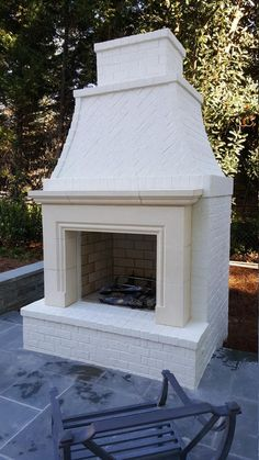 Cast stone fireplace - Price includes only mantel surround. Cast stone fireplace, can be made to any dimension, price is f - Stone Fireplace Mantel, Outdoor Fireplace Designs, Fireplace Ideas, Outdoor Fireplaces, Outdoor Fireplace Brick, Fireplace Kitchen, White Brick Fireplaces, Cabin Fireplace, Fireplace Modern