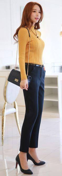 StyleOnme_Dailywear Slim Fit Dress Pants #navy #dresspants #koreanfashion #stylish #dailylook #kstyle #seoul #kfashion #pants