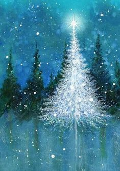 White Christmas Tree painting. Stunning blue watercolor painting with snow and trees.