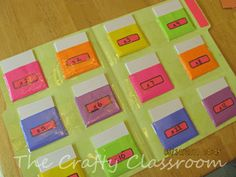 Times Table Folder. This idea would work for centers in a group or as independent work. I would suggest making the pockets a bit bigger so index cards will be able to fit in them.