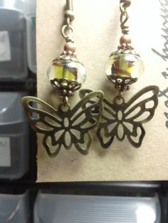 Butterfly and glass bead earrings