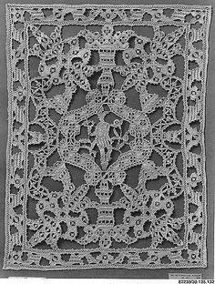 """Italian cutwork Panel  16C. 14.75 x 11"""" @ met museum of art 30.135.132"""