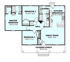 Cottage Style House Plan - 3 Beds 2 Baths 1260 Sq/Ft Plan #44-175 Main Floor Plan - Houseplans.com