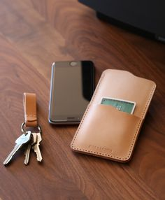 "Bas and Lokes Leather Goods - ""Judas"" Vegetable Tan Handmade Leather iPhone 6 Sleeve, $89.00 (http://www.basandlokes.com/judas-vegetable-tan-handmade-leather-iphone-6-sleeve/)"