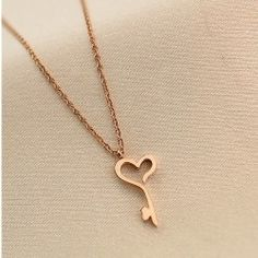 Fashionable Heart-shaped Key 18K Gold Plated Titanium Steel Women's Necklace - USD $49.95
