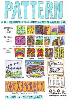 Principles of Design printables: pattern, emphasis, variety, unity, blaance, rhythm/movement, proportion