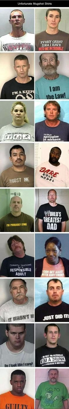 Lolsnaps.com - Worst t-shirts to wear while getting a mugshot