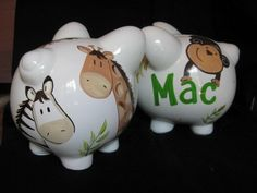piggy bank hand painted personalized zanzibar. $29.50, via Etsy.