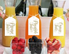 Mimosa Bar Juice Drink Tags - Mimosa Bar Labels for Bubbly Champagne Bars at Bridal Shower, Wedding Party - White & Gold Glitter - Mia - Food: Veggie tables Blueberry Juice, Blueberry Lemonade, Strawberry Lemonade, Party Drinks Alcohol, Juice Drinks, Drinks Alcohol Recipes, Juice Recipes, Party Recipes, Drink Recipes