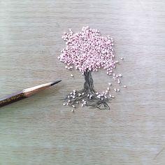지우개를 잘라서 만든 벚꽃나무
