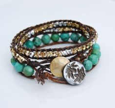 turquoise, brown, and gold bracelet