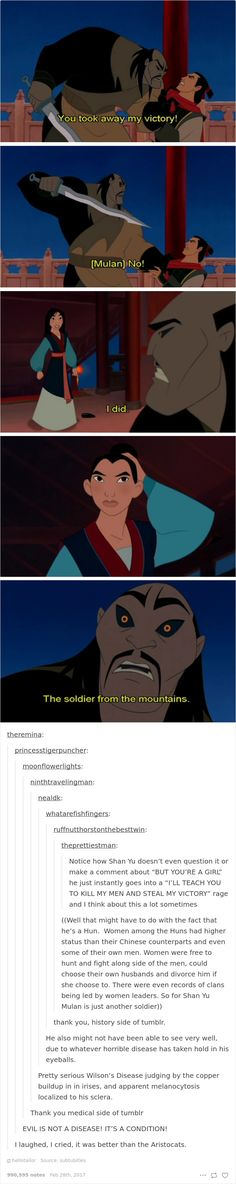 Love this scene - it just proves how much of a better heroine Mulan is than most of the other Disney girls. They're really beautiful, the other ones, but Mulan as a film proved that a prince is not necessary for you to become a great woman. Disney Pixar, Disney And Dreamworks, Punk Disney, Disney Villains, Disney Characters, Dc Memes, Funny Memes, Hilarious, Funny Quotes