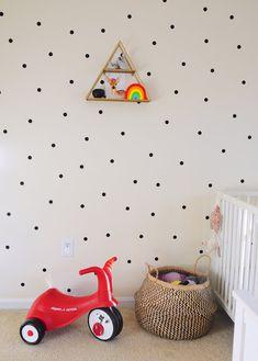 How to paint polka dots with a sponge idea детская игровая к Disney Themed Nursery, Baby Nursery Themes, Baby Boy Nurseries, Nursery Nook, Ikea Nursery, Girl Nursery, Rainbow Nursery, Rainbow Baby, Ikea Crib