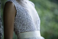 Ivory tulle sequin dress with purple chiffon | AtelierDeCoutureJK