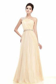 A-line One-shoulder Floor-length Chiffon Long Mother of Bride Dress | LynnBridal.com