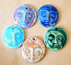 5 Handmade Ceramic Beads  Face Beads  Meditation by beadfreaky, $12.50