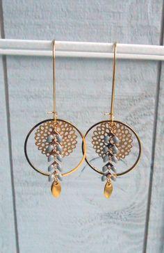Boucle d'oreille créole chaine épi émaillé gris/doré : Boucles d'oreille par o-bijoux