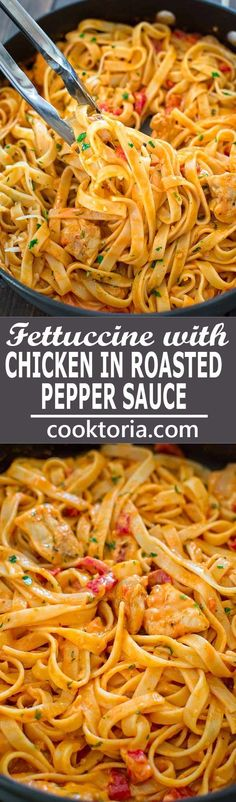 This elegant and creamy Fettuccine with Roasted Pepper Sauce and Chicken is made. This elegant and creamy Fettuccine with Roasted Pepper Sauce and Chicken is made in under 30 minutes and requires just 6 ingredients. Your guests and . Italian Recipes, New Recipes, Cooking Recipes, Healthy Recipes, Cheap Pasta Recipes, Easy Recipes, Pasta Recipes With Chicken, Sauce Recipes, Roast Chicken Pasta